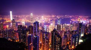 Hong Kong and Kowloon from Victoria Peak by palmbook