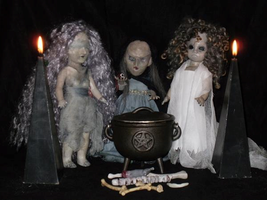 The Fates, Stygian Witches, custom dolls by Rach-Hells-Dollhaus