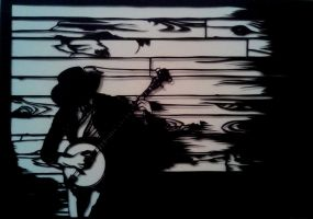 Banjo player paper cut by EllaBaras