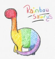 RainbowSaurus Watercolour by Bexifer