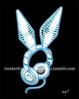 White Rabbit Earphones by ArtbyMaryC