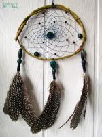 Dreamcatcher - chrysocolla, guineafowl feathers by SuvetarsWell