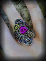 Geared Rose Ring by ArtByStarlaMoore