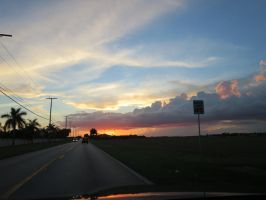 sunset on the way to the everglades by MdngtRain