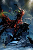 spawn and batman by TifoneUmanoide