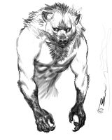 Ancient Wolf bw by dogmeatsausage