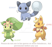 Fakemon Starters by spiffychicken