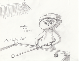 Early Drawings - Me Playing Pool by FilmmakerJ