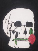 Skull and Flower painted by MysticWonderingWoman