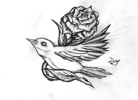 Nightingale and Rose Tattoo by Mehdals