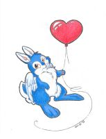 Rub Rabbit with Balloon by Nyaasu