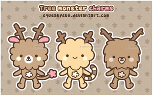 Tree monster charm designs by SqueakyToybox