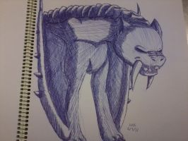 Pen Drawing - MH Barioth by WigglyWolf