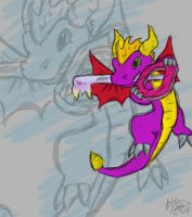 spyro and a keyblade by LaleyWasHere