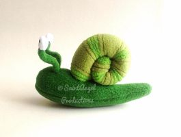 Green Stuffed Snail Plush with Bendable Eyes by Saint-Angel
