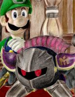 Meta Knight and Luigi by SleepyKirby