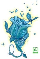 blue butterfly rose by TheIronClown