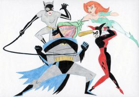 Batman vs Catwoman, Harley, and Ivy by March90