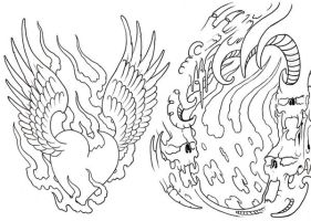 Tattoo Flash Sheet Outline by vikingtattoo
