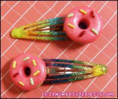 Custom Donut Hairclips by pinknikki