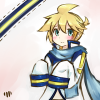 Len wearing Kaito's coat thing by JuiceBox-Tea