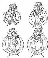 Sailor Moon sketches by KazenoShun