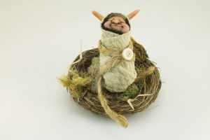 Baby Goblin in hand-made nest by The-GoblinQueen