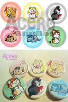 Sailor Kitties Buttons by AceroTiburon