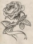 Rose with Ribbon Tattoo by Maszeattack