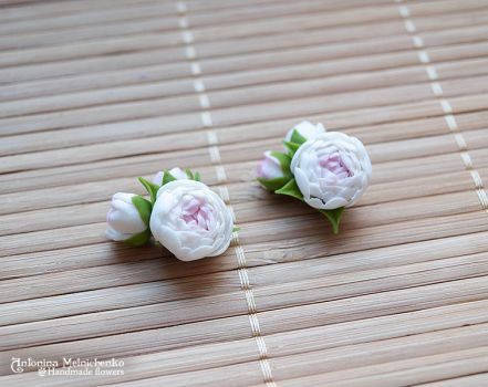 Earrings Peony - Polymer Clay Flowers by SaisonRomantique
