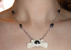 Raccoon Atlas Bone and Hematite Necklace by Magelet
