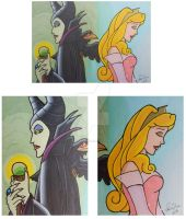 Sleeping Beauty Double ACEO set 1 by LadyNin-Chan