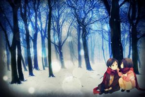 Winter's Memory  - Eren Jaeger and Mikasa Ackerman by 34Kai