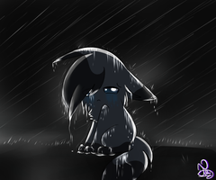 In the rain by NightBlueMoon