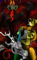 Aku and Discord Masters of Chaos by FlamingRazorWire