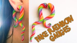 Rainbow Fake Gauge Earrings (Video Tutorial) by NerdEcrafter