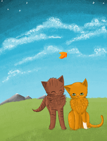 Brambleclaw and Squirrelflight in MSPaint by chocobeery