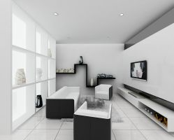 BW minimalist Small Living room by ForevaloneJackk
