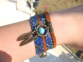 Dreamcatcher Wrap Fabric Bracelet by pestenkerani