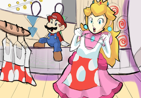 Mario and Peach Clothes Shopping doodle by AlSanya