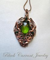Peridot Green Quartz and Copper Pendant by blackcurrantjewelry
