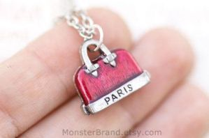 Pink Purse Necklace by MonsterBrandCrafts