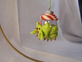 Dragon vs Candycane Christmas Ornament by omfgitsbutter