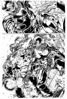 Titania Vs Sentinel By Manuel Garcia inks by Curie by lobocomics