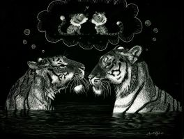 Scratchboard Tigers by atnason
