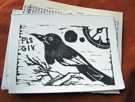 Pls Giv Magpie Print on White by BeatingDeadHeroes