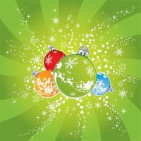 Christmas balls shown in beautiful green star by cgvector