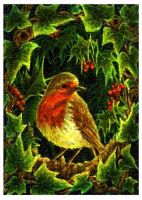 ACEO Robin miniature painting by CelynsCorner