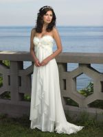 Strapless Chiffon Sweetheart Beach Wedding Dress by foxgowns