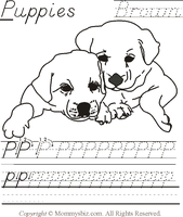 Mommysbiz | P-Puppies-Brown Preschool Worksheet by DanaHaynes
